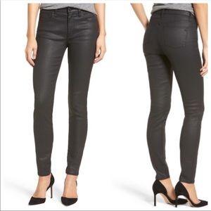 """Madewell 9"""" High Riser Black Coated Skinny Jeans"""